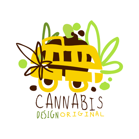 Cannabis label original design,   graphic template Illustration