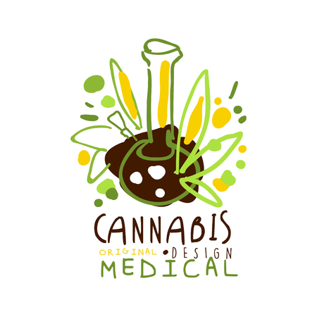Medical cannabis label original design,  graphic template Illustration
