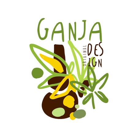 Ganja label, graphic template Stock Vector - 81146661