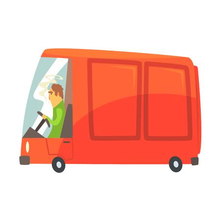 Red cartoon cargo van, commercial transport vector Illustration