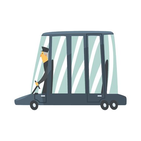 Black cartoon limousine car with driver vector Illustration