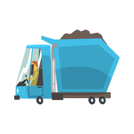 Blue heavy duty dump truck with coal, freight transport cartoon vector Illustration