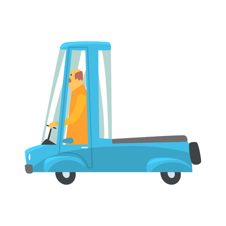 Retro blue cartoon pickup truck vector Illustration