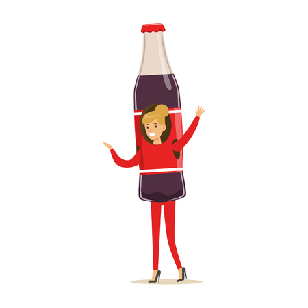 Cheerful woman wearing soda drink bottle costume, puppets food vector Illustration