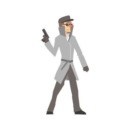 Detective character standing and holding gun. Private investigator, inspector or police officer vector Illustration Çizim