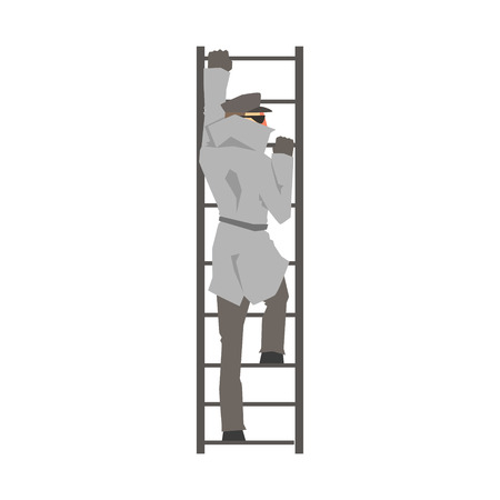 Detective man character climbing on a ladder, private investigator, inspector or police officer vector Illustration