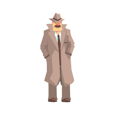 Detective character standing, private investigator, inspector or police officer vector Illustration Vettoriali