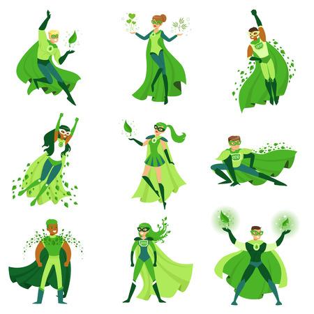 ECO superhéroe conjunto de caracteres, los jóvenes y las mujeres en diferentes poses con capas verdes vectoriales Ilustración de vector