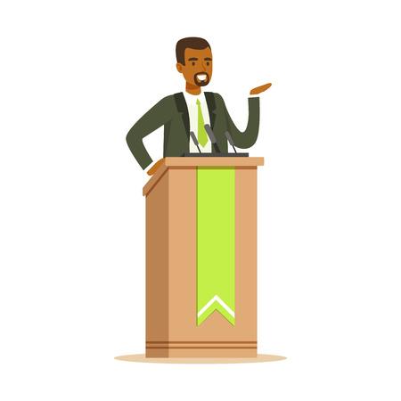 Politician man speaking behind the podium, public speaker character vector Illustration