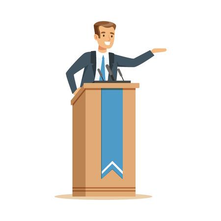 Orator speaking from tribune, public speaker character vector Illustration