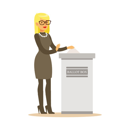 Woman putting a ballot into a voting box, casting vote vector character Illustration