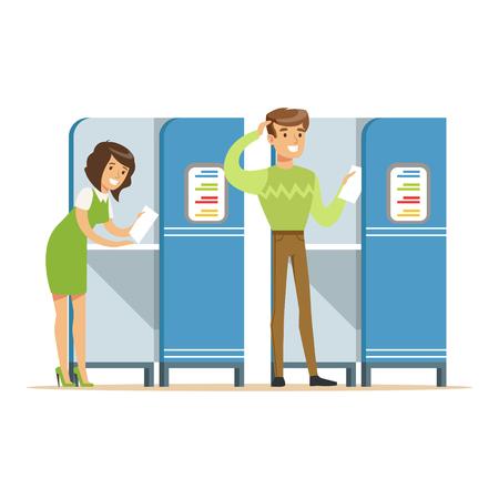 Cabines de vote avec homme et femme lançant leur vecteur de vote Illustration