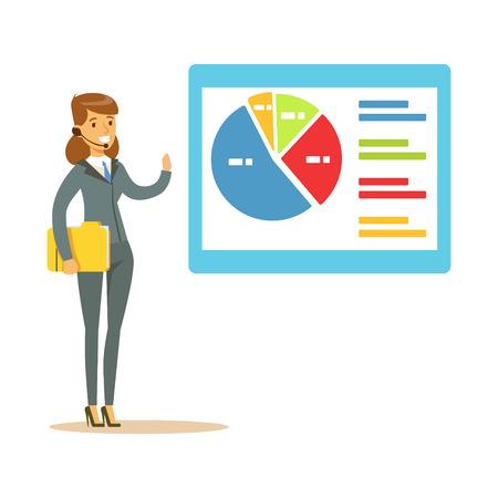 Glimlachende vrouw in een hoofdtelefoon die op grafiek op een raad tijdens presentatie vectorillustratie richten