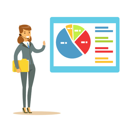 Smiling woman in a headset pointing at chart on a board during presentation vector Illustration Ilustração