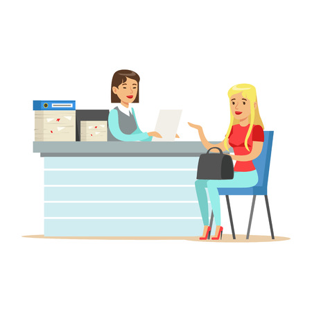 Young business woman interviewing job applicant at desk in office vector Illustration