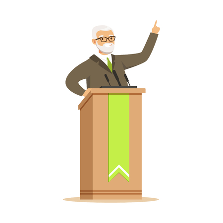 Mature politician standing behind rostrum and giving a speech, public speaker character vector Illustration Illustration