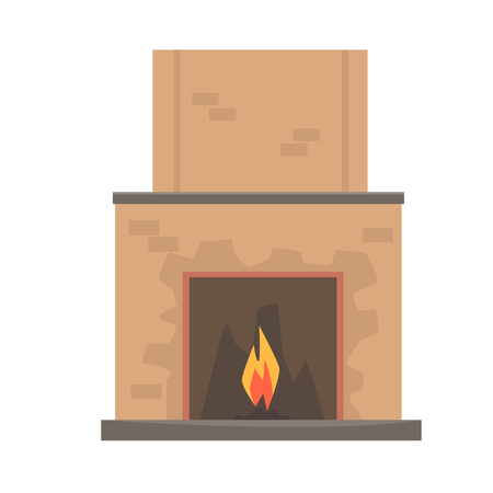 Home fireplace with fire vector Illustration