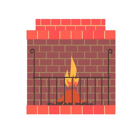Cheminée de brique maison avec feu illustration vectorielle Banque d'images - 81145719