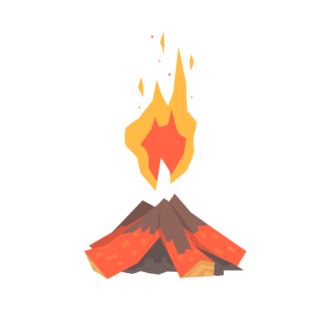 Burning bonfire with wood vector Illustration