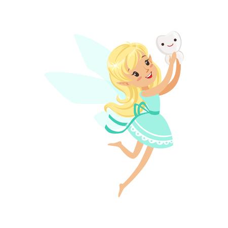 Leuke cartoon blonde Tooth Fairy meisje vliegen met tand kleurrijke karakter vector illustratie