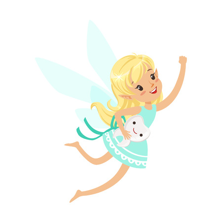 Beautiful sweet blonde Tooth Fairy girl flying with smiling tooth colorful cartoon character vector Illustration Çizim