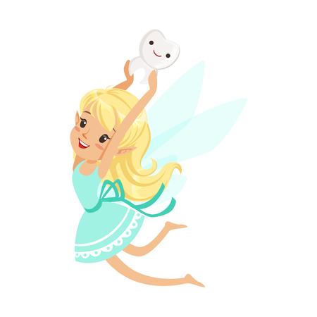 귀여운 만화 금발 치아 요정 소녀 비행 및 머리 위에 치아 베어링 다채로운 문자 벡터 일러스트 일러스트