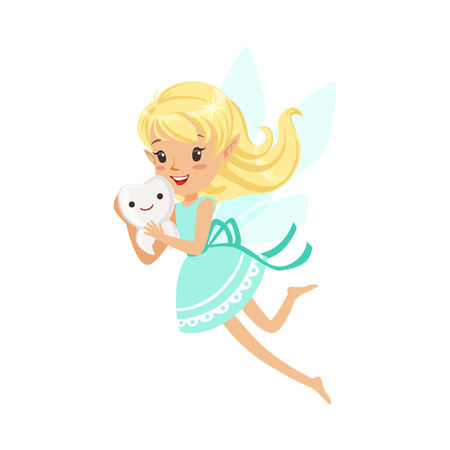 Beautiful sweet smiling blonde Tooth Fairy girl flying and holding tooth colorful cartoon character vector Illustration