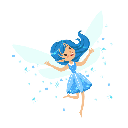 Beautiful smiling blue Fairy girl flying colorful cartoon character vector Illustration Illustration