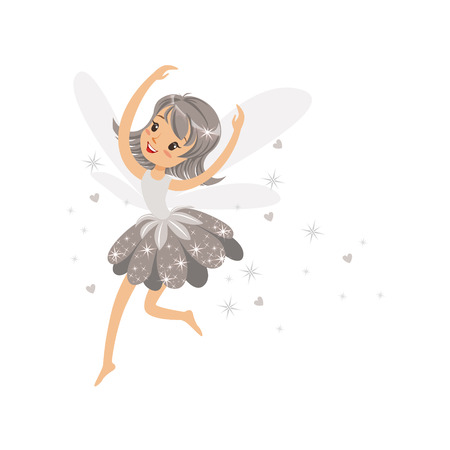 elves: Beautiful smiling gray Fairy girl flying colorful cartoon character vector Illustration