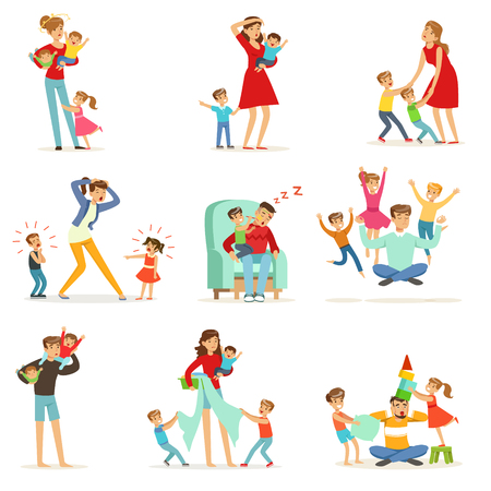 Tired parents and their children set, parenting stress vector Illustration