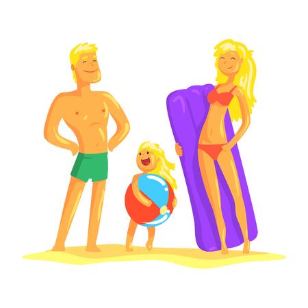 Glückliche Eltern und ihr Sohn, die auf dem Strand, Sommerferienvektor Illustration stillstehen Standard-Bild - 81145763