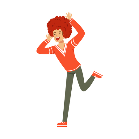 Smiling football fan character in red wig celebrating the victory of his team vector Illustration