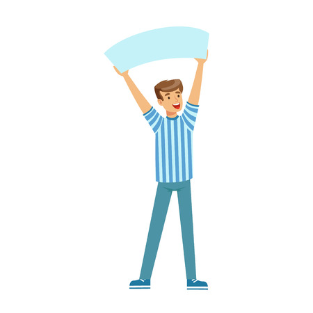 Cheering football fan character in blue holding blank banner over his head vector Illustration