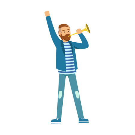 Bearded football fan character in blue standing and holding vuvuzela vector Illustration isolated on a white background
