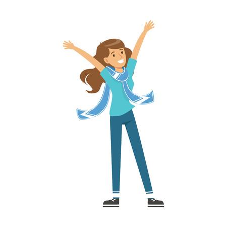 Glimlachend het meisjeskarakter van de voetbalventilator in blauw die de overwinning van zijn team vectorillustratie vieren