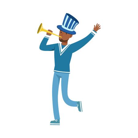 Het gelukkige karakter van de voetbalventilator in blauwe hoed die de overwinning van zijn team met vuvuzela vectorillustratie vieren