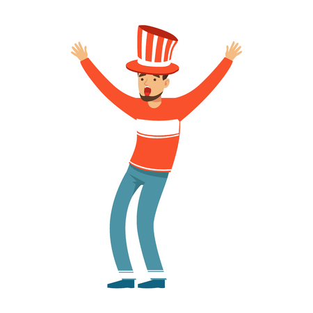 Happy football fan character in red hat celebrating the victory of his team vector Illustration