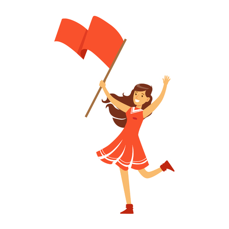 Cheering football fan girl character in red standing and holding red flag vector Illustration