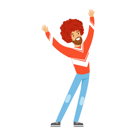 Cheering football fan character in red wig celebrating the victory of his team vector Illustration