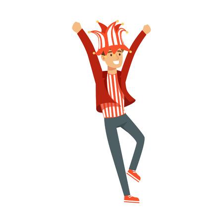 Het glimlachen het karakter van de voetbalventilator in rode hoed die de overwinning van zijn team vectorillustratie vieren Stock Illustratie