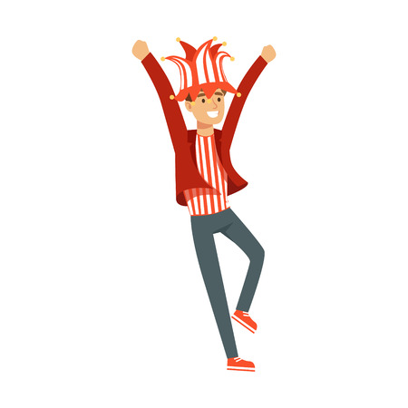 Smiling football fan character in red hat celebrating the victory of his team vector Illustration