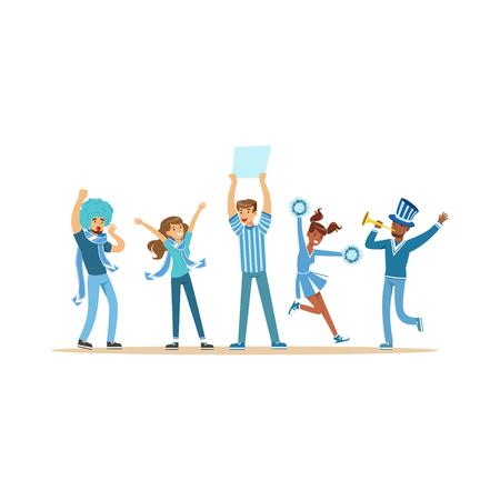 Groep sportfans in blauwe uitrusting ondersteunend hun team die en vectorillustratie schreeuwen toejuichen Stock Illustratie