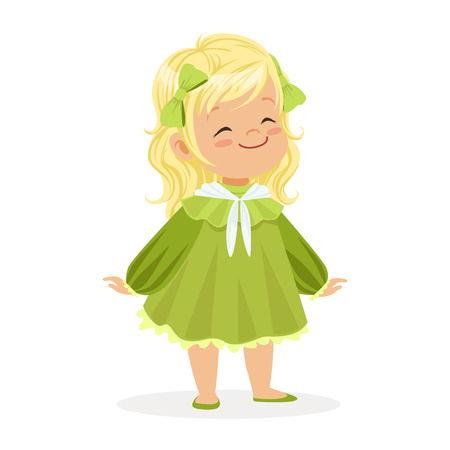 causal: Sweet smiling little girl dressed in green dress and bows colorful cartoon character vector Illustration