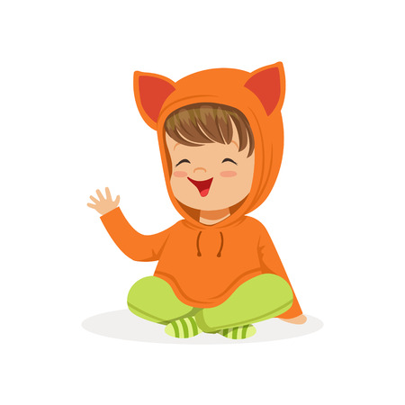 causal: Sweet smiling little girl dressed in fox sweater colorful cartoon character vector Illustration