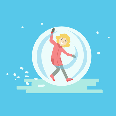 Happy girl having fun in a walking ball. Winter activity colorful character vector Illustration