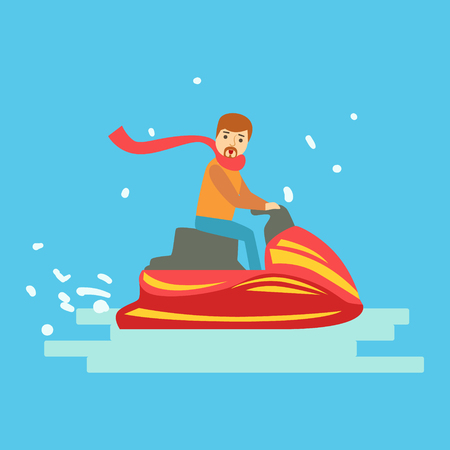 Man riding on snowmobile in winter holidays. Winter sports colorful character vector Illustration