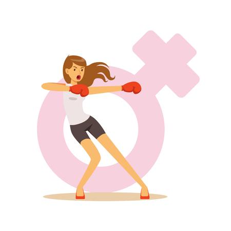怒っている女性ボクシング ボクシング手袋をはめて、フェミニズムのカラフルな文字ベクトル図