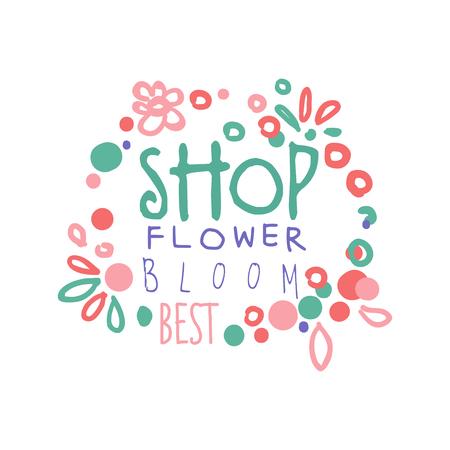 フラワー ショップ花最高ロゴ テンプレート手描画ベクトル図ピンク色の企業アイデンティティのバッジ  イラスト・ベクター素材