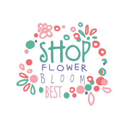 Flower shop bloom best logo template hand drawn vector Illustration in pink colors, badge  for company identity