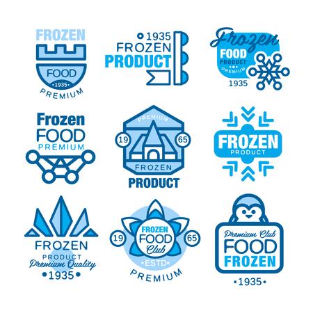 Zestaw produktów mrożonych żywności szablony logo ręcznie narysowane ilustracje wektorowe w kolorach niebieskim